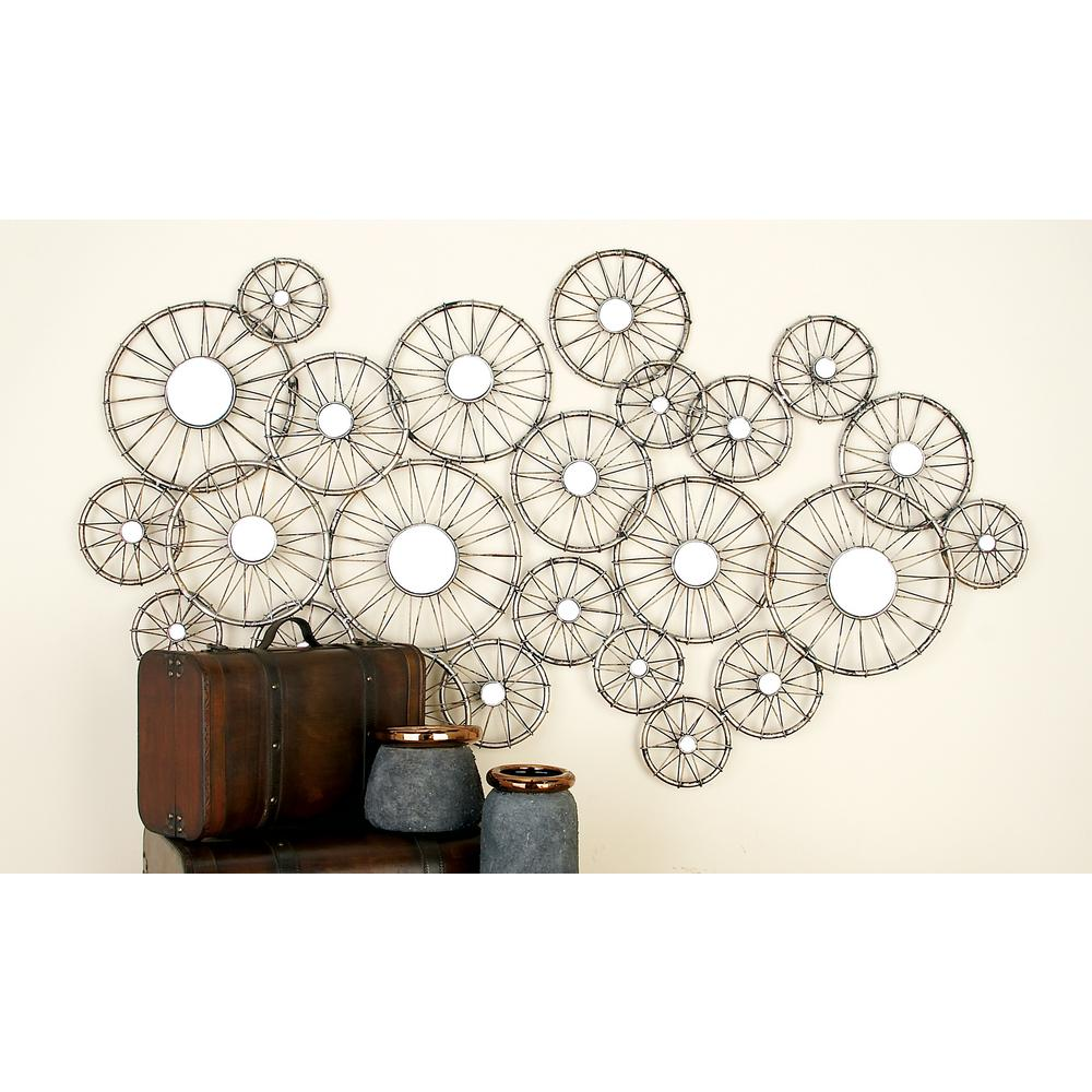Wonderful Silver-Finished Iron Abstract Bike Wheel Mirror Wall Decor-50214  DR03