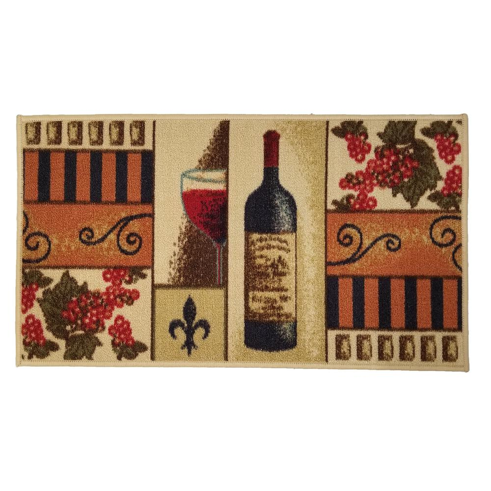 MAXY HOME Cucina Collection 18 in. x 31 in. Rubber Back Kitchen Mat