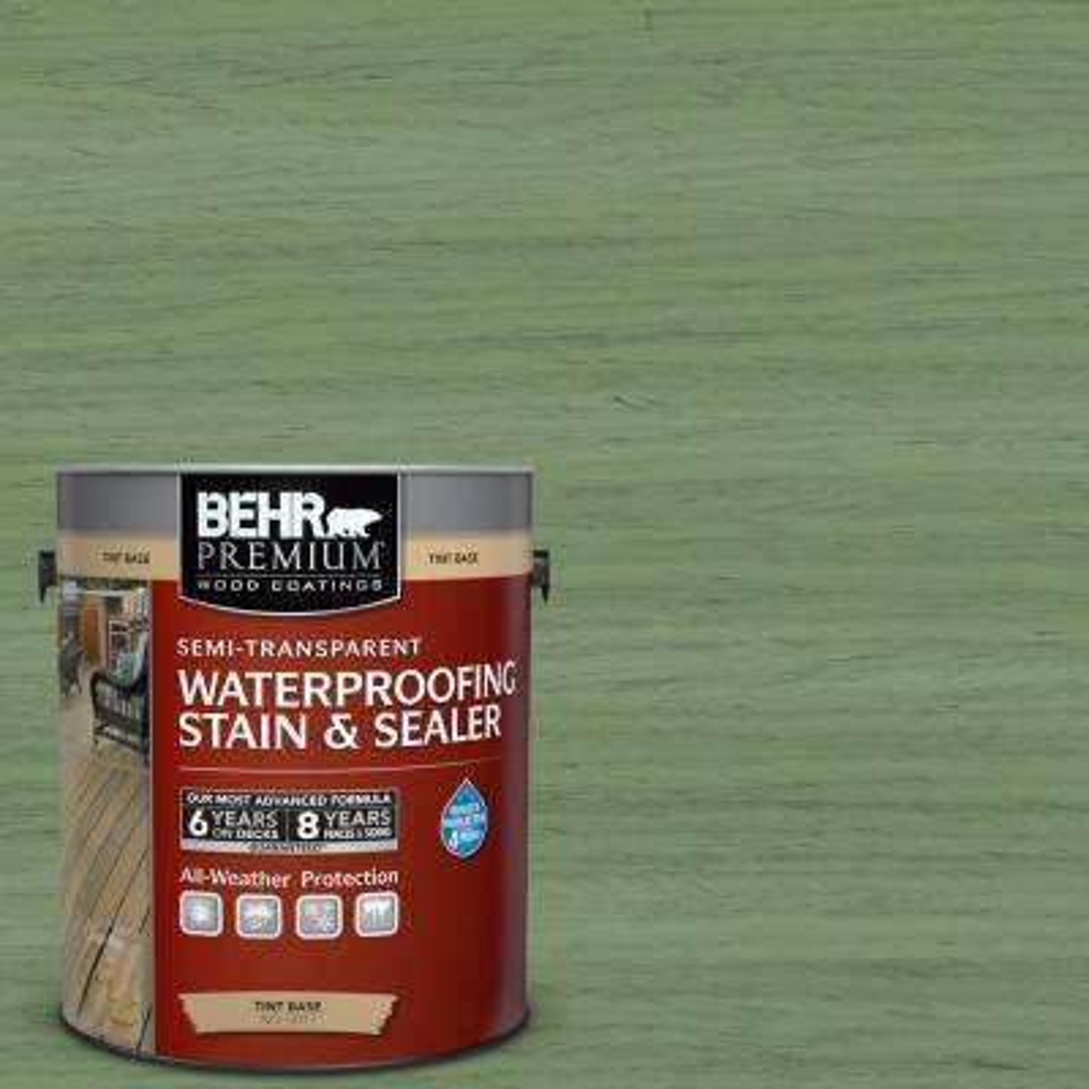 1 gal. #ST-132 Sea Foam Semi-Transparent Waterproofing Exterior Wood Stain and Sealer