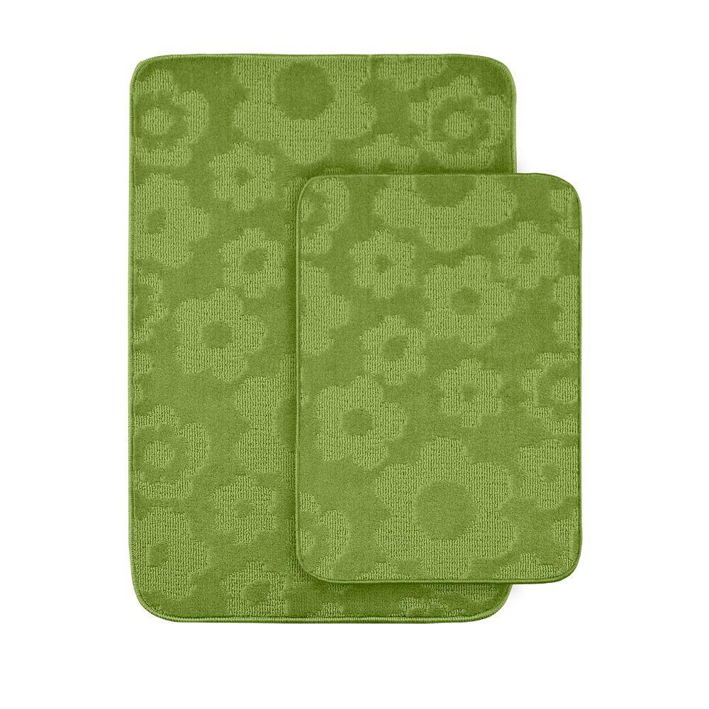 garland rug flowers lime green 20 in x 30 in washable bathroom 2 piece