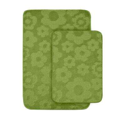 Flowers Lime Green 20 in x 30 in. Washable Bathroom 2-Piece Rug Set