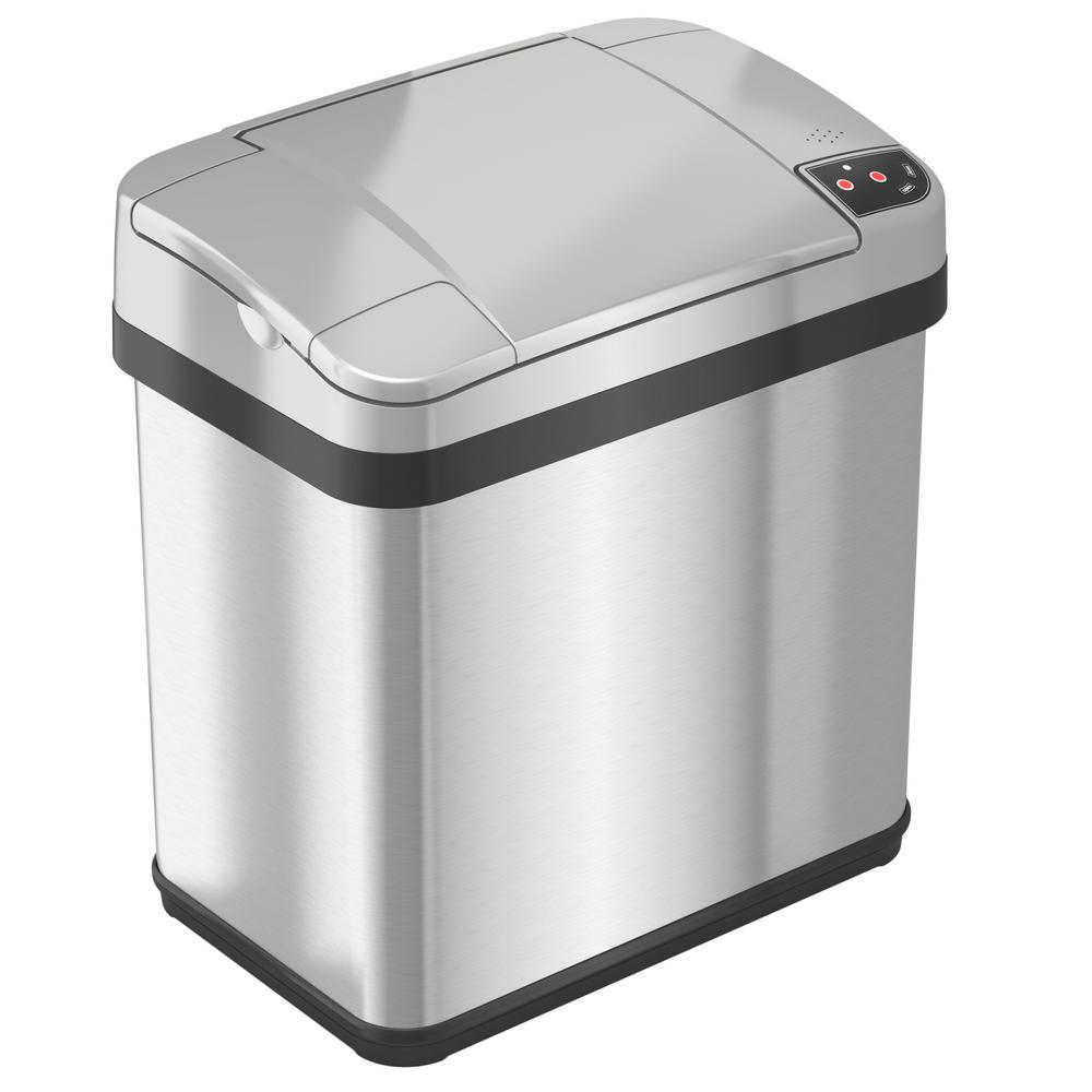 2.5 Gal. Stainless Steel Touchless Multifunction Sensor Trash Can with