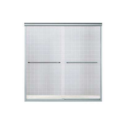 Finesse 57 in. x 55-3/4 in. Semi-Frameless Sliding Shower Door in Silver with Handle