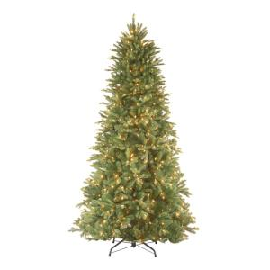 e0183ef6006a3 9 ft. Feel Real Tiffany Fir Slim Hinged Artificial Christmas Tree with 800  Clear Lights