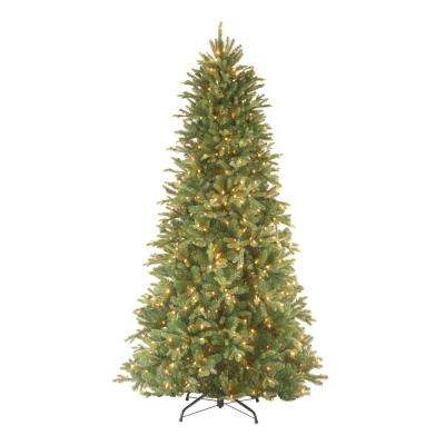 feel real tiffany fir slim hinged artificial christmas tree with 800 clear lights