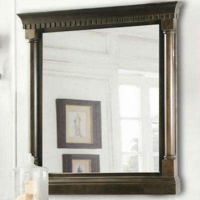 24 in. W x 33 in. H Framed Wall Mirror in Antique Coffee