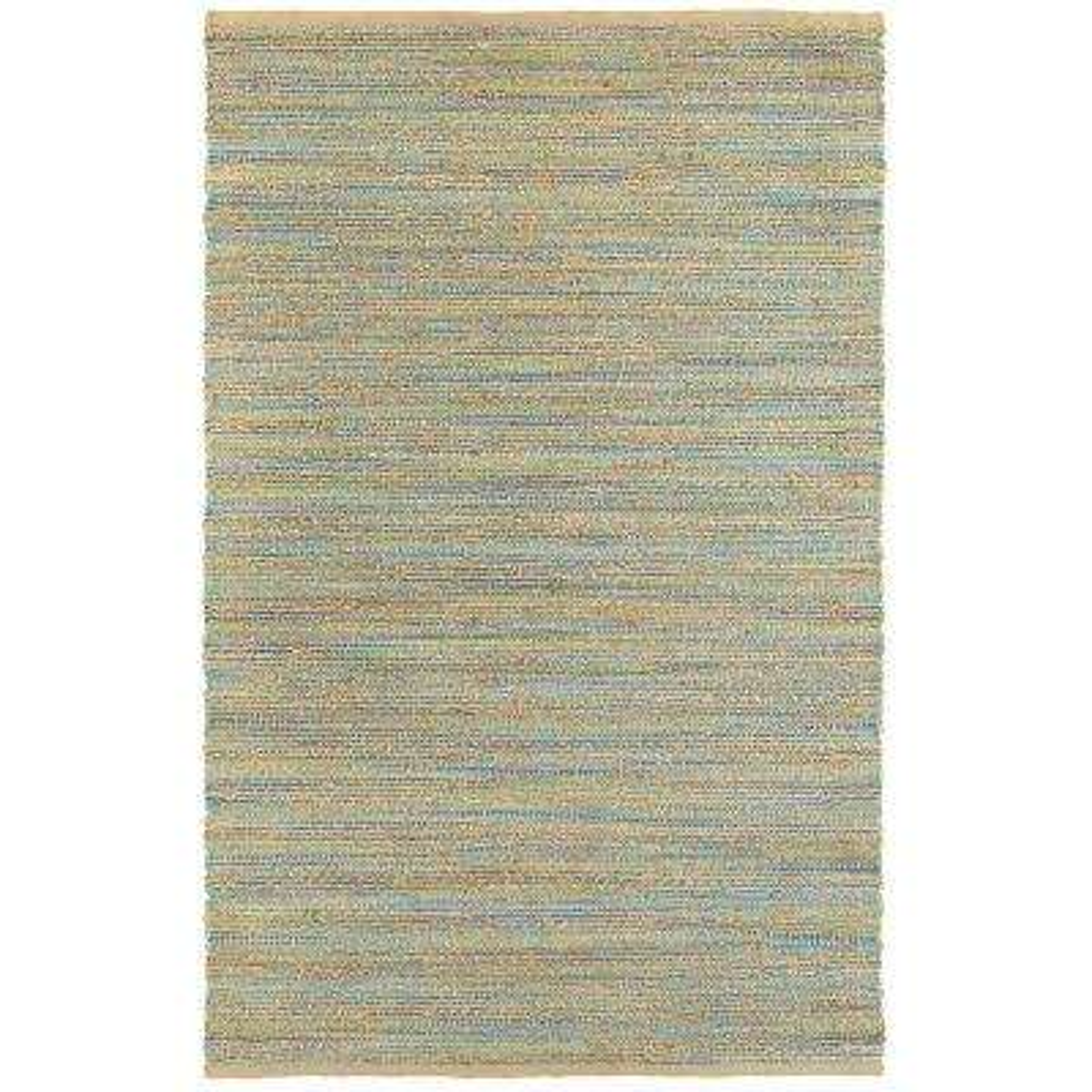 Natural Fiber Blue/Green Rectangle 5 ft. x 8 ft. Plush Indoor Area Rug
