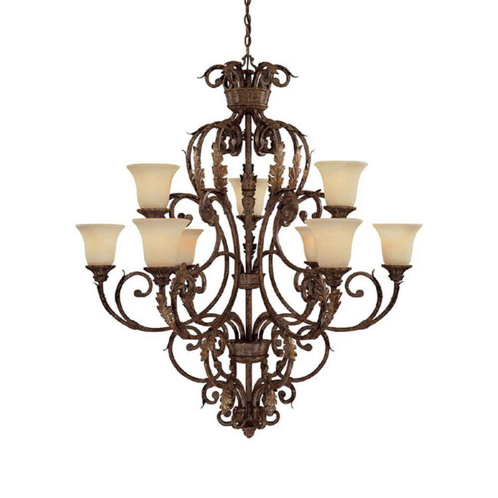 Filament Design 9-Light Gilded Umber Chandelier with Rust Scavo Glass-DISCONTINUED