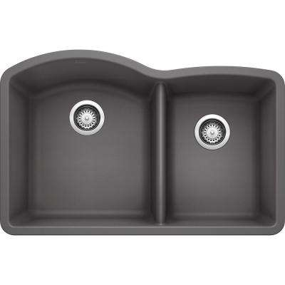 DIAMOND Undermount Granite Composite 32 in. 60/40 Double Bowl Kitchen Sink in Cinder