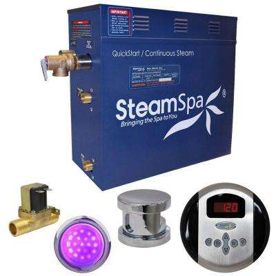 Indulgence 4.5kW QuickStart Steam Bath Generator Package with Built-In Auto Drain in Polished Chrome