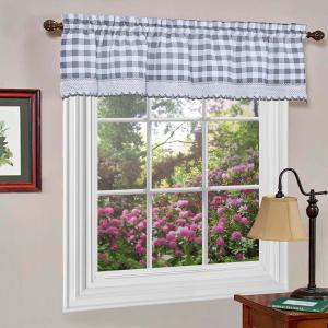 Achim Buffalo Check 14 inch L Polyester Valance in Grey by Achim