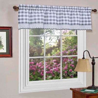 Buffalo Check 14 in. L Polyester Valance in Grey