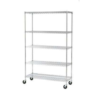 48 in. W x 75 in. H x 18 in. D 5-Shelf Steel Wire Wheeled Commercial Shelving in UltraZinc