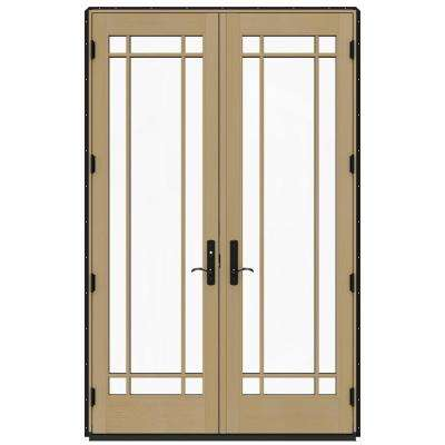 60 in. x 96 in. W-4500 Black Prehung Right-Hand Inswing French Patio Door with Contemporary Frame