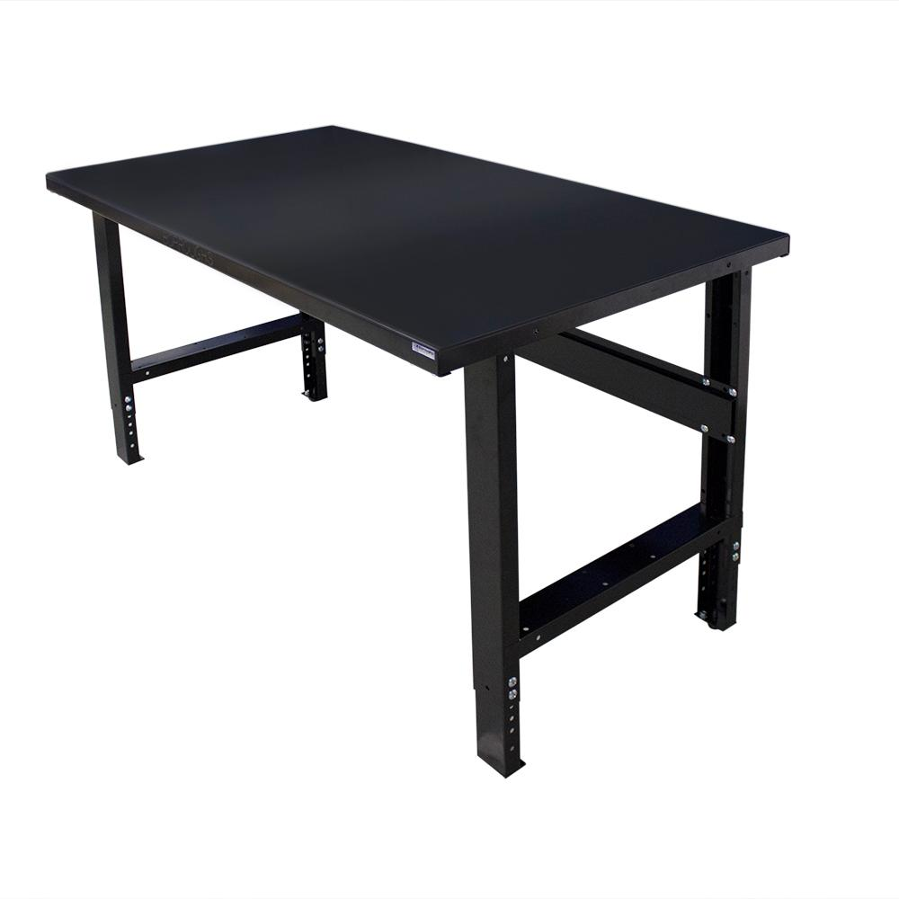34 in. x 72 in. Heavy-Duty Adjustable Height Workbench with Black Painted Top