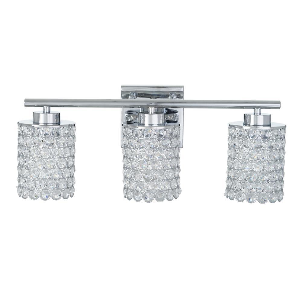 3-Light Chrome Caged Crystal Vanity Bath Light