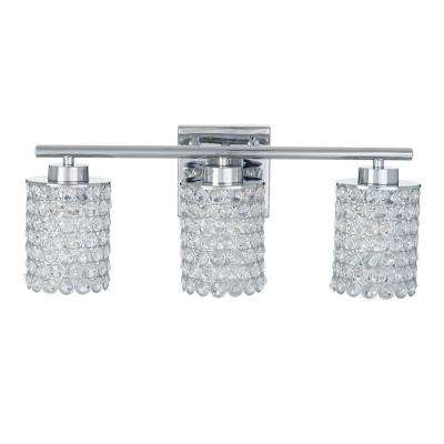 3-Light Chrome Caged Crystal Vanity Bath Light