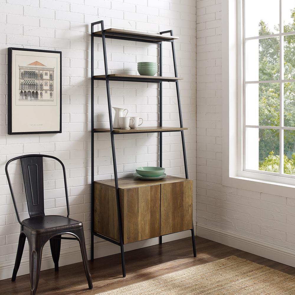 72 in. Industrial Modern Reclaimed Barnwood Ladder Bookcase