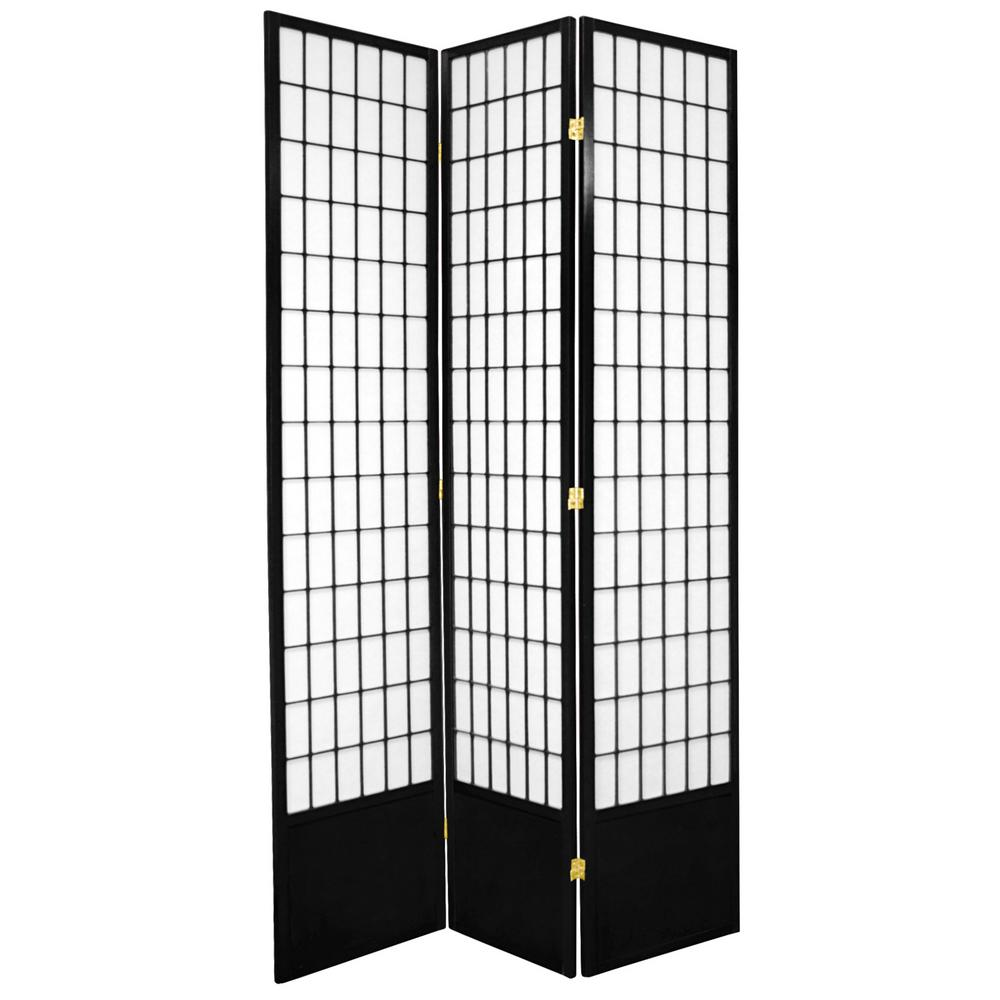 7 ft. Black 3-Panel Room Divider