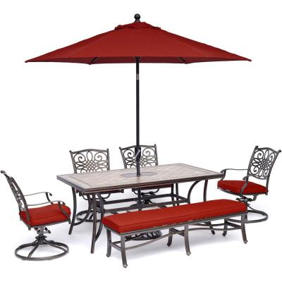 Monaco 6-Piece Aluminum Outdoor Dining Set with Red Cushions 4 Swivel Rockers, 1 Bench