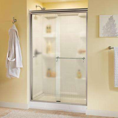 Portman 48 in. x 70 in. Semi-Frameless Traditional Sliding Shower Door in Chrome with Droplet Glass