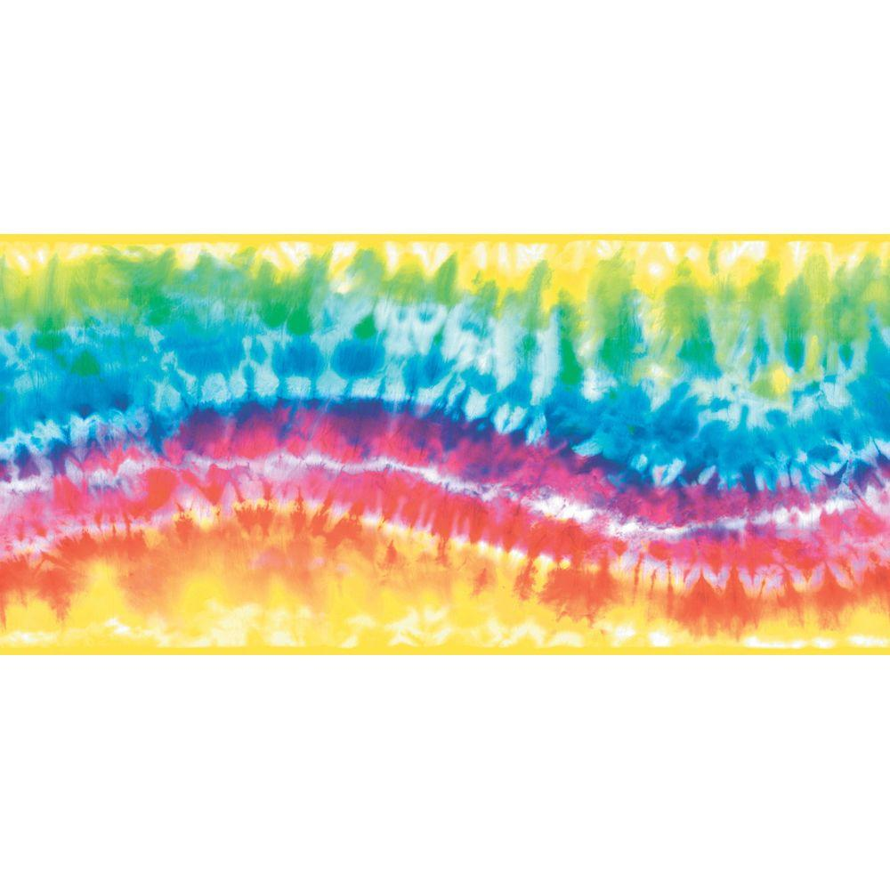 The Wallpaper Company 8.5 in. x 15 ft. Primary Colored Tie-Dye Border