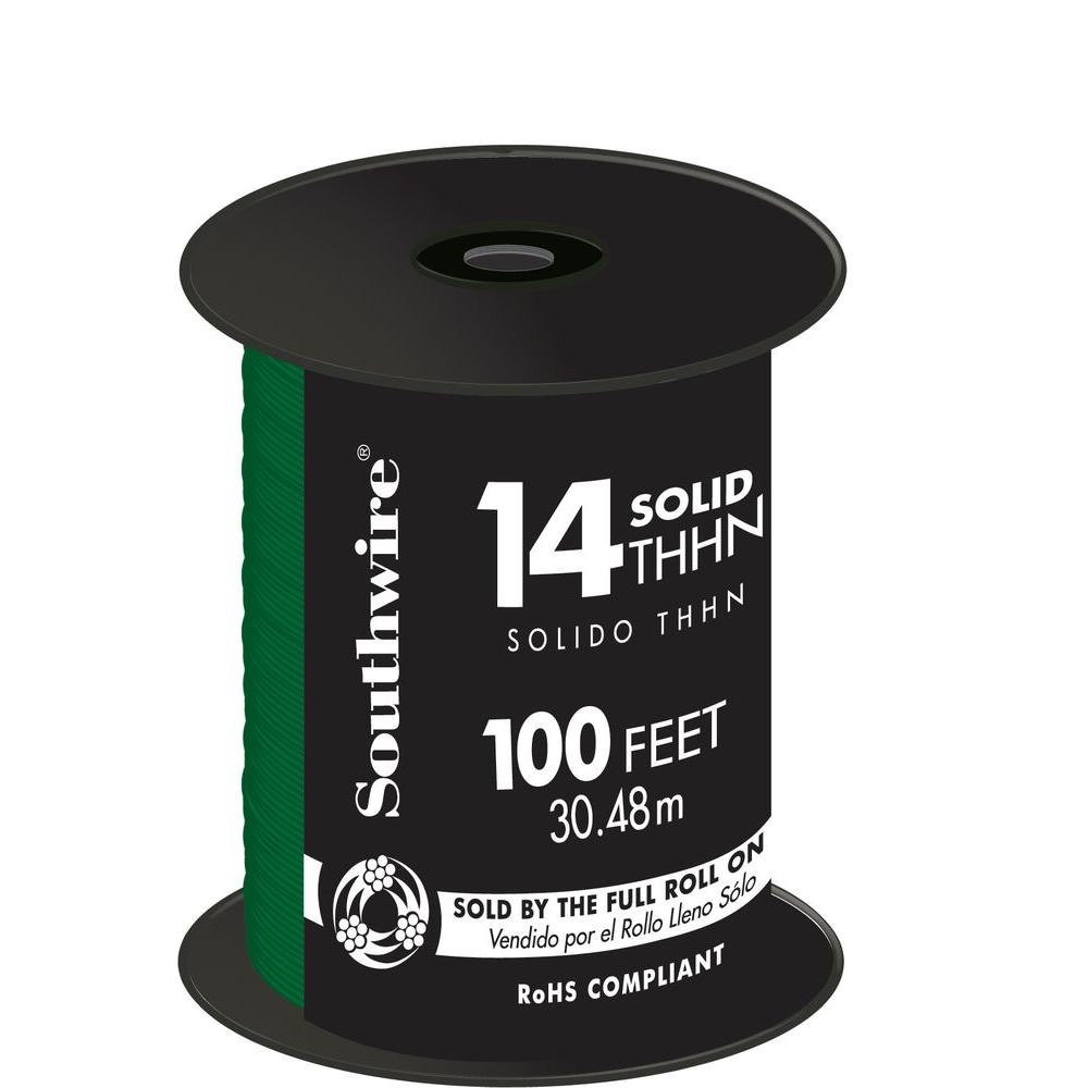 100 ft. 14 Green Solid CU THHN Wire