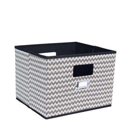 13 in. x 10 in. Deluxe Open Storage Bin with Cutout Handles in Black Chevron