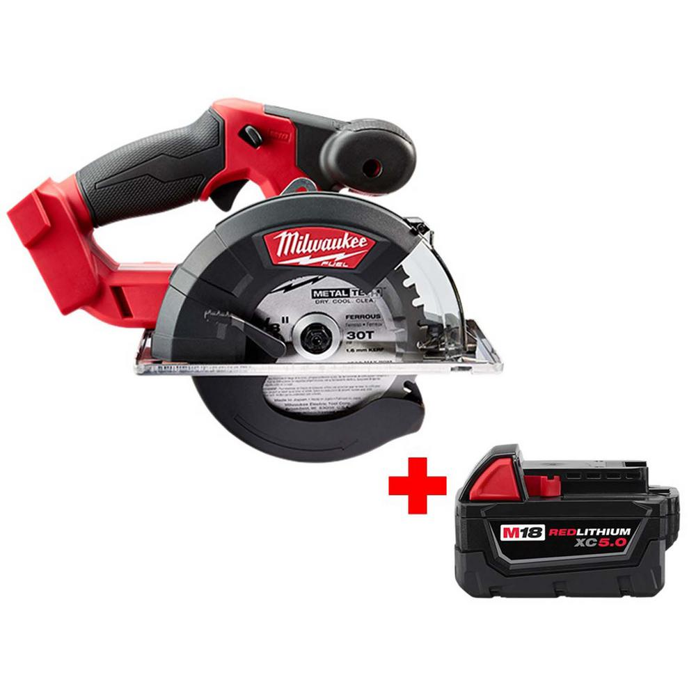 Milwaukee M18 FUEL 18-Volt Lithium-Ion Brushless Cordless 5-3/8 in. Circular Metal Saw with Free M18 5.0Ah Battery