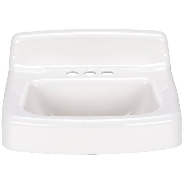 Zurn 4 In Centerset 19 In X 17 In Wall Hung Cast Iron Vessel Sink In White Z5834 The Home Depot
