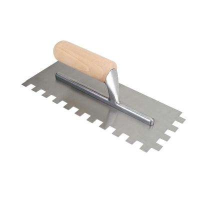 11 in. x 1/2 in. x 1/2 in. Square-Notch Pro Flooring Trowel with Wood Handle