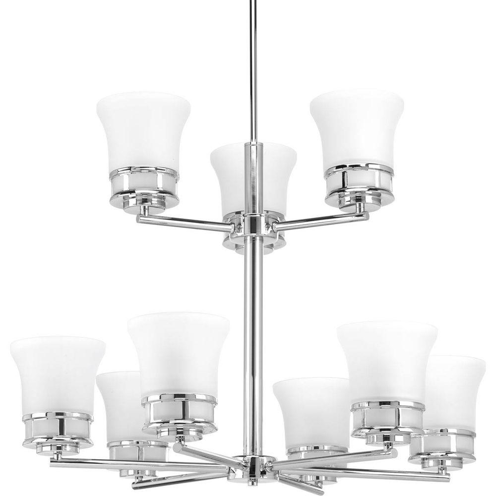 Cascadia Collection 9-Light Polished Chrome Chandelier with Etched Glass