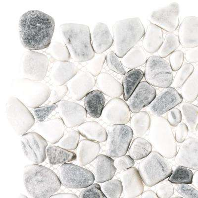 Carrara River Rocks 3 in. x 6 in. x 10.5 mm Marble Mosaic Wall Tile Sample