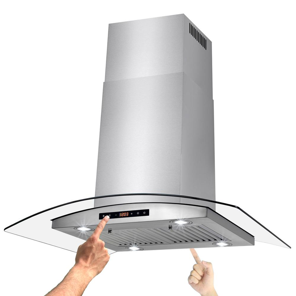 Convertible island mount kitchen range hood with light and dual side touch