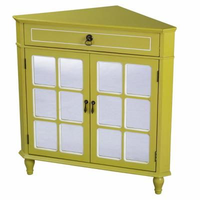Shelly Assembled 31 in. x 31 in. x 17 in. Yellow Wood Glass Corner Cabinet with a Drawer and 2 Doors