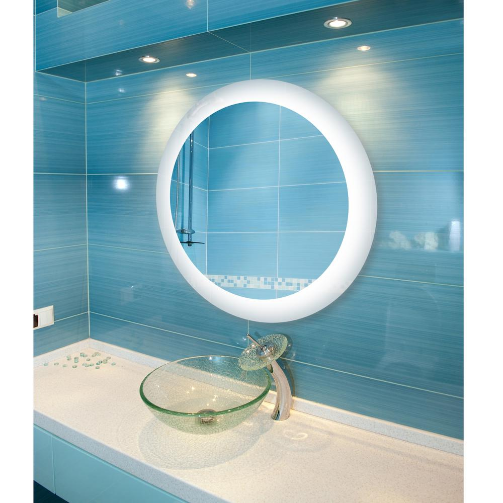 Dyconn 22 In Circle Round Led Wall Mounted Backlit Vanity Bathroom Mirror With Touch On Off Dimmer And Anti Fog Function