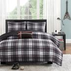 David 3-Piece Black/Gray Twin Coverlet Set