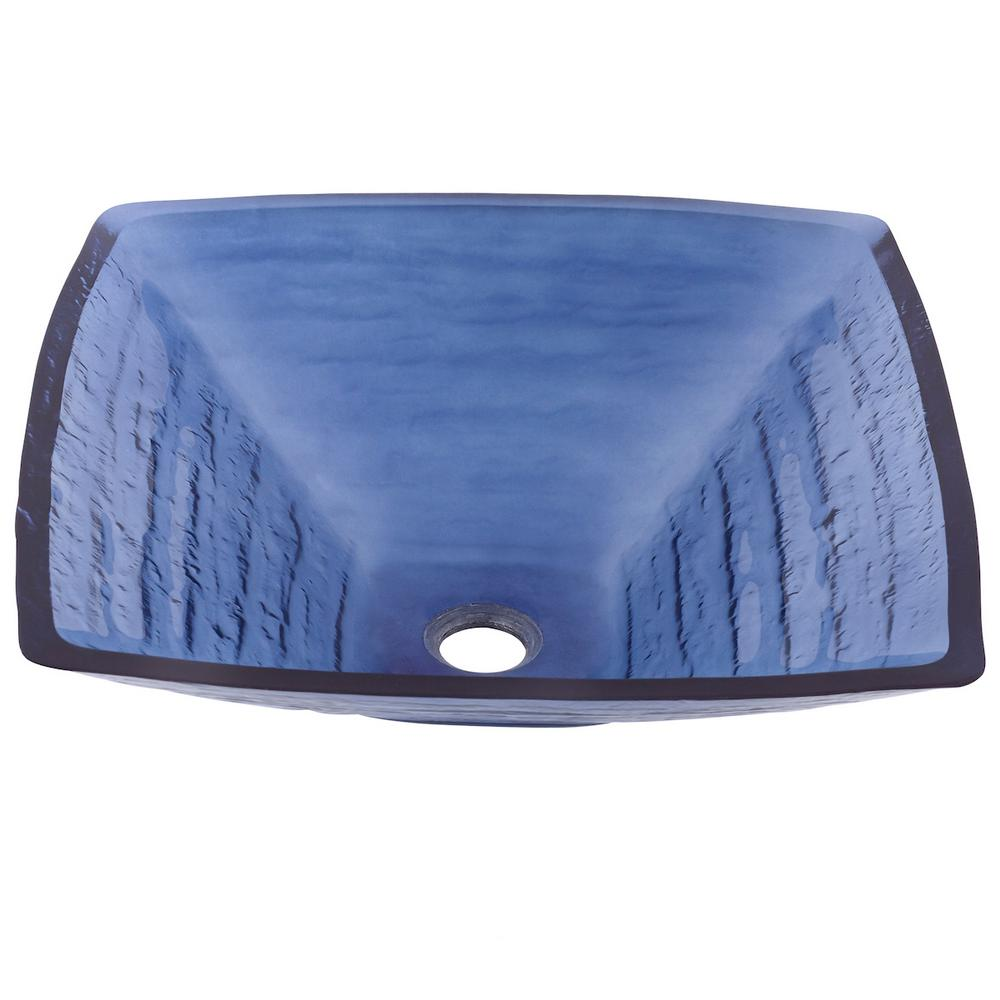 Fresco Square Glass Vessel Sink In Blue