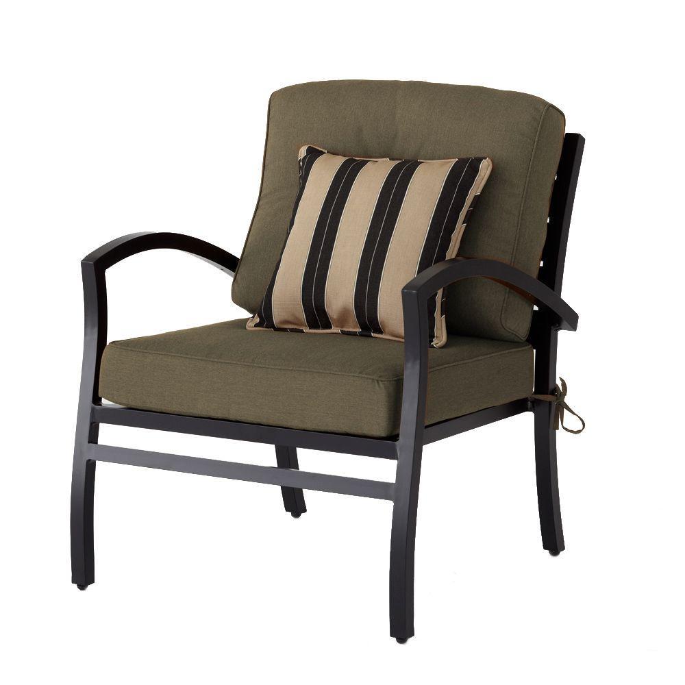 Hampton Bay Morgan Modern Patio Lounge Chair with Sunbrella Canvas Teak Cushions-DISCONTINUED