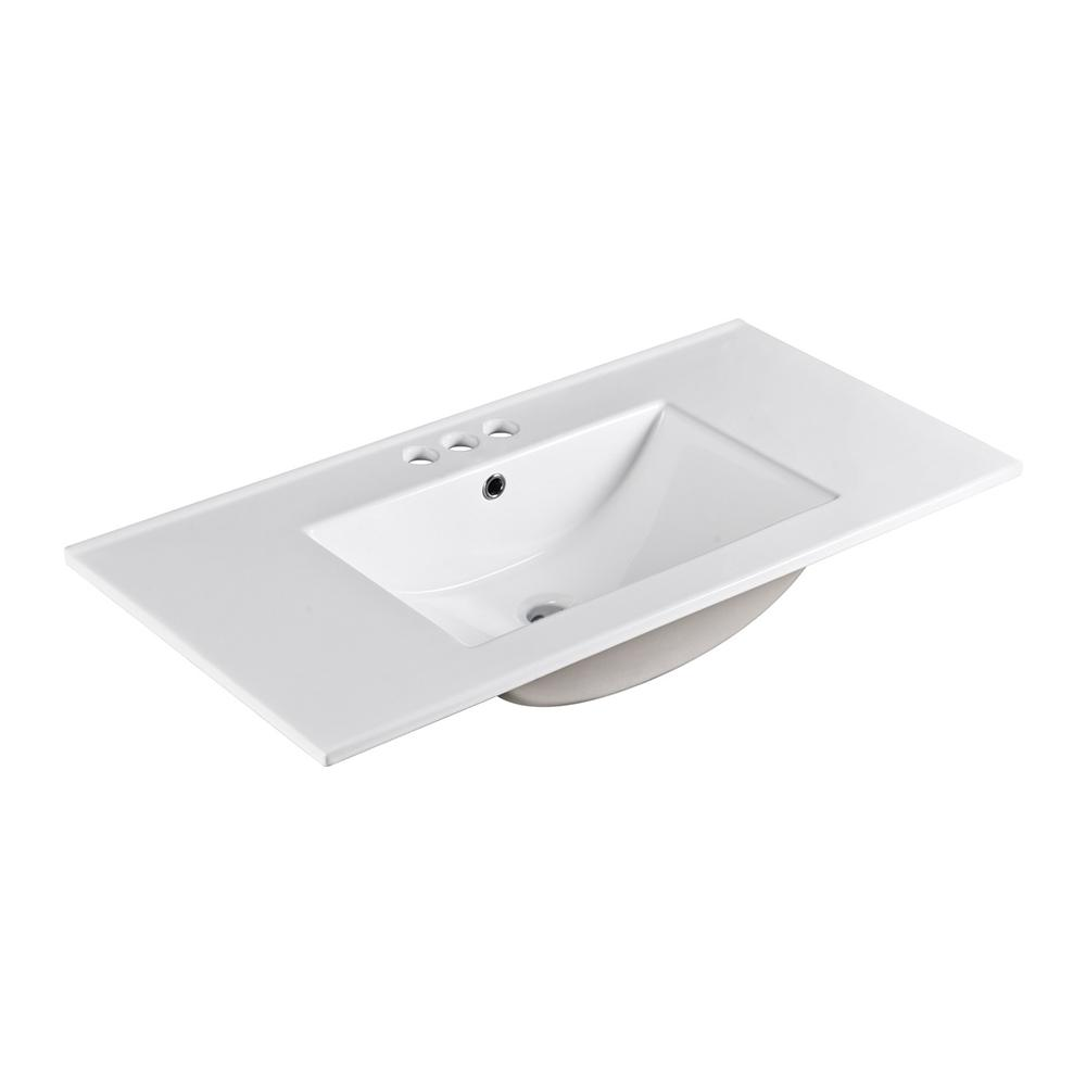 Bellaterra Home Sicily 36 in. Drop-In Ceramic Bathroom Sink in White