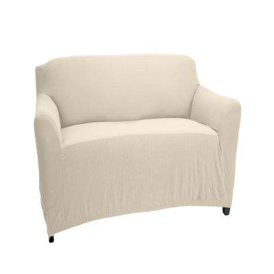 96.5 in. x 23.6 in. x 27.5 in. Pixel Ivory Stretch Chair Slip Cover