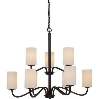 9-Light Forest Bronze Chandelier with White Glass Shade