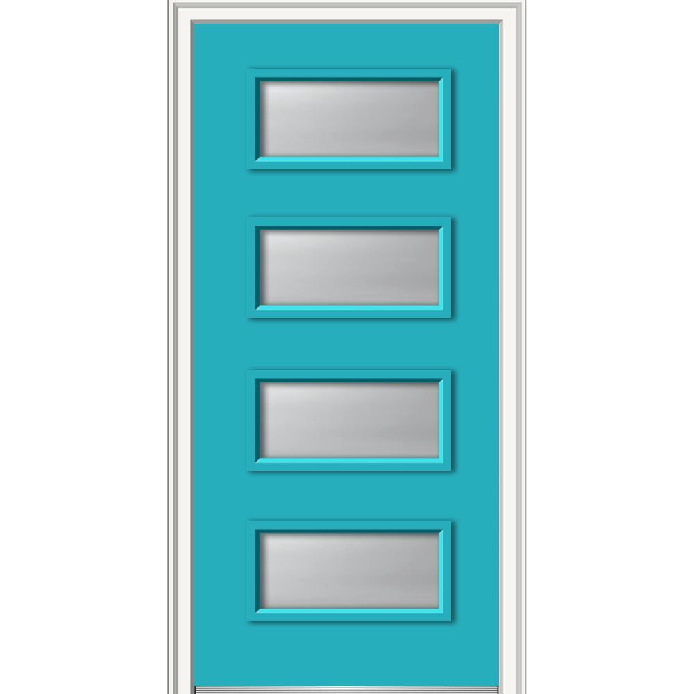 MMI Door 36 in. x 80 in. Celeste Clear Frosted Glass Left ...