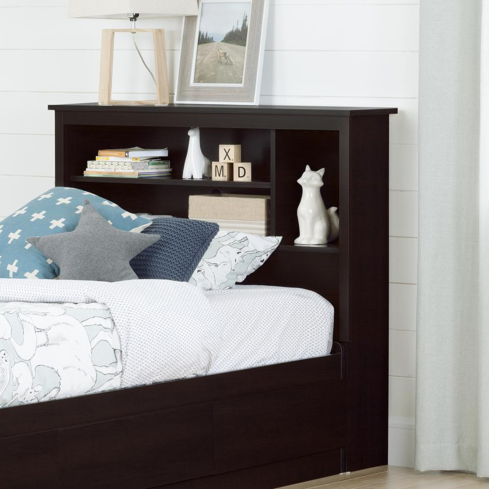 bed for kid south shore vito chocolate headboard 10232 the 10232