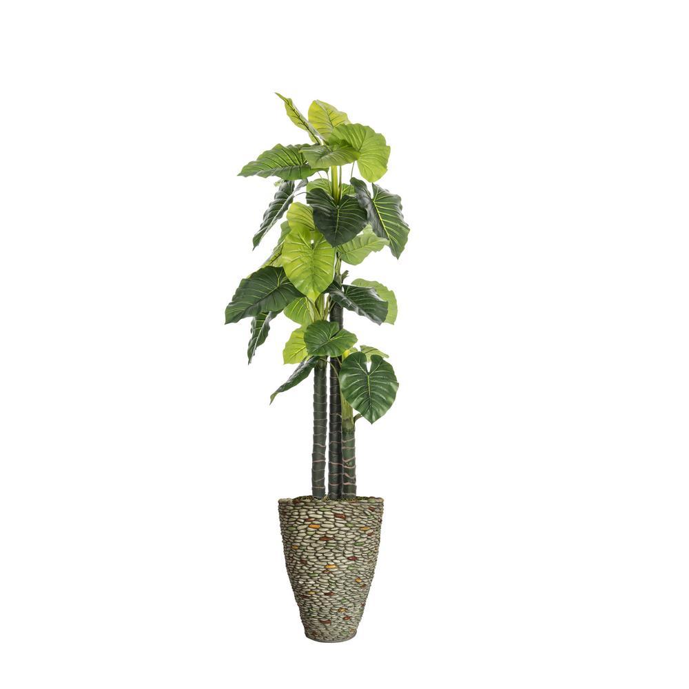 85.5 in. Tall Indoor-Outdoor Elephant Ear Plant Artificial Indoor/ Outdoor Decorative Faux in Fiberstone Pot