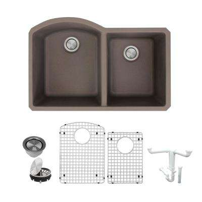 Aversa All-in-One Undermount Granite 31 in. 1-3/4 in. D-Shape Double Bowl Kitchen Sink in Espresso