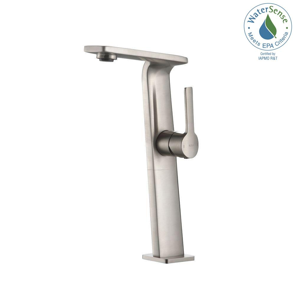 Novus Single Hole Single-Handle High-Arc Vessel Bathroom Faucet in Brushed