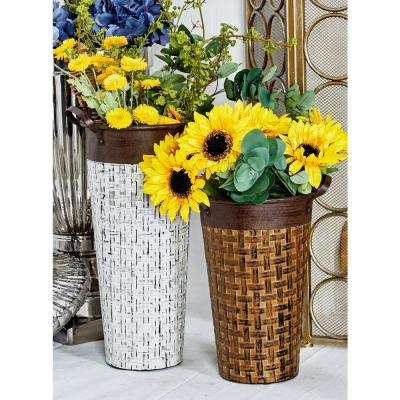 Multi-Colored Iron Flower Pots (Set of 3)