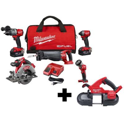 M18 FUEL 18-Volt Lithium-Ion Brushless Cordless Combo Kit (5-Tool) with M18 FUEL Compact Bandsaw