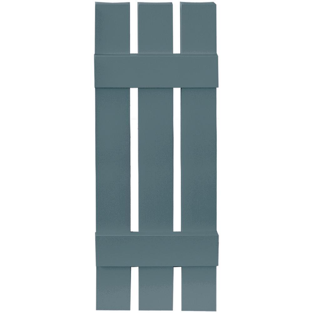 Builders Edge 12 in. x 35 in. Board-N-Batten Shutters Pair, 3 Boards Spaced #004 Wedgewood Blue